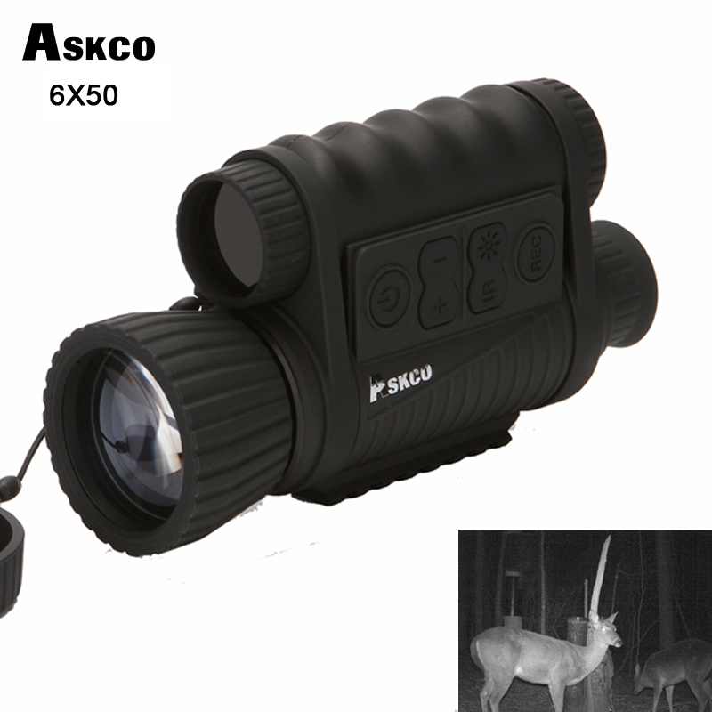 Askco Hunting Digital Infrared 6X50 Night Vision Monocular Goggles Telescope 5MP HD 350m Range For Picture