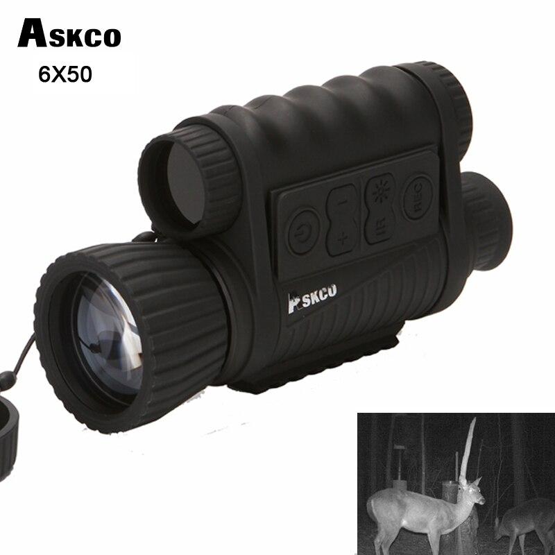 Askco Caça Digital 5MP 6X50 Óculos de Visão Monocular Noite Telescópio Infravermelho HD 350 m Faixa Para A Imagem e Vídeo tiro
