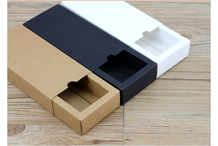 wedding : Kraft Paper Drawer Type Craft Gift Box White Black Jewelry Handmade Soap Packaging Boxes For Wedding Party Candy