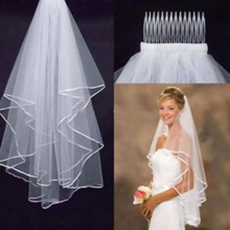 Wedding Simple Tulle White Ivory Two Layers Bridal Veils