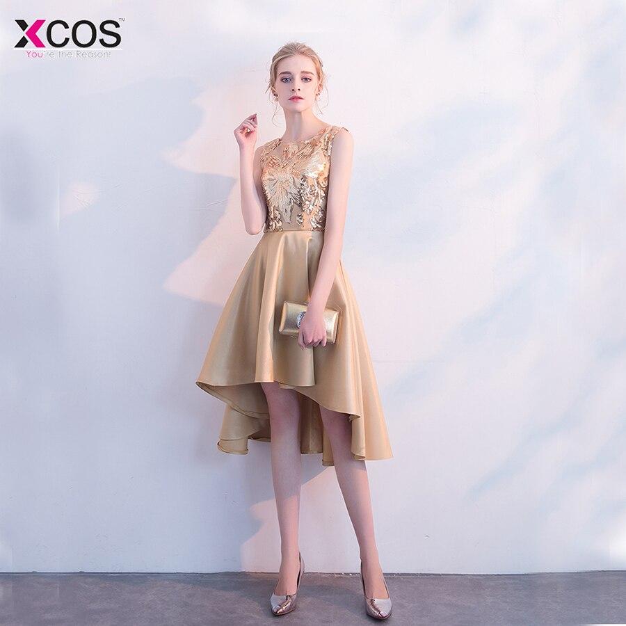 d9d3c23264d Champagne Gold Homecoming платье короткое спереди блестками Высокая Низкая  Пром платья Scoop Платья для выпускного 2018 - b.stephdunn.me