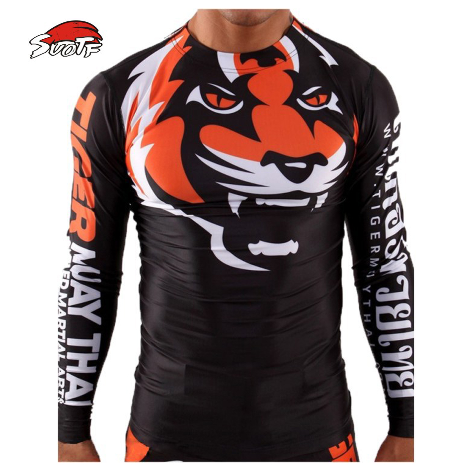 SUOTF MMA Tight Elastic Body-building Clothes Tiger Muay Thai Muay Thai Boxing Shirt Long Sleeve