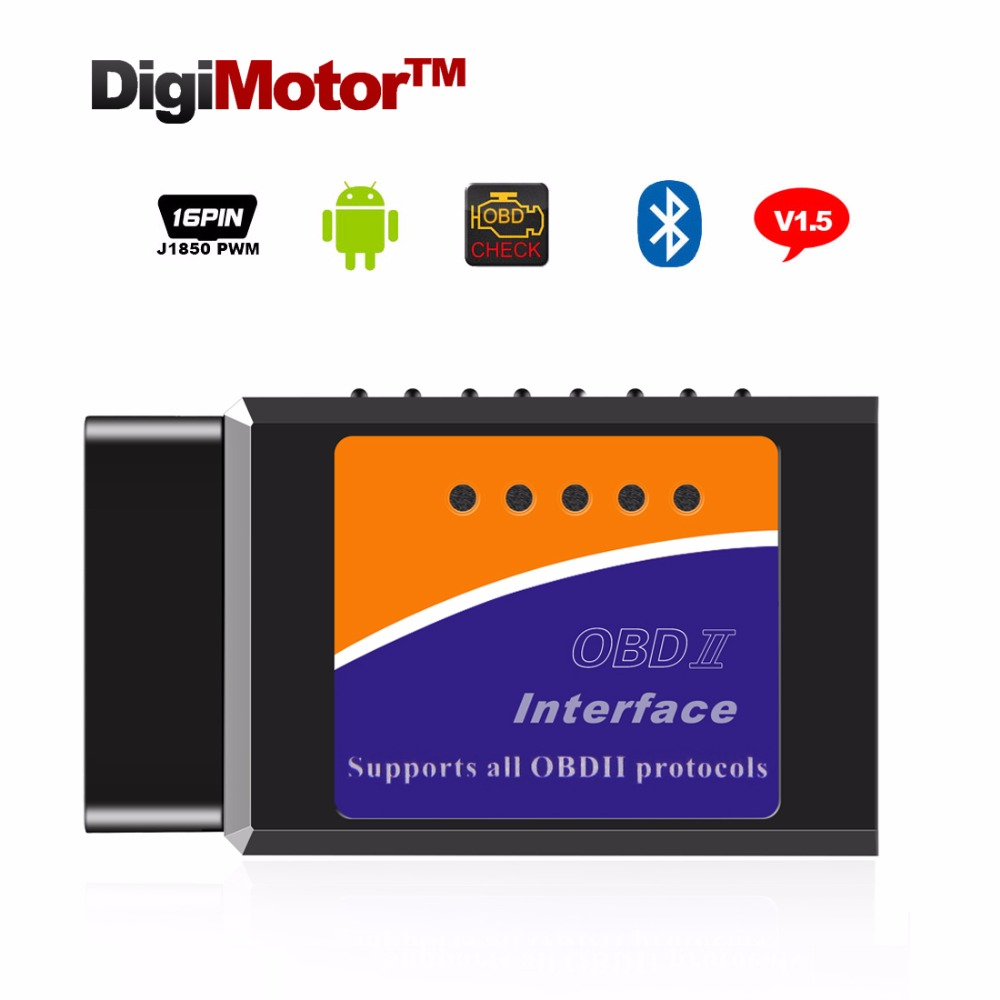 Digimotor Real ELM327 V1.5 Bluetooth OBD2 ELM 327 V 1.5 OBDII Code Reader Diagnostic Tool Mini Scanner OBD 2 Car Diagnostic-Tool mini elm327 bluetooth elm 327 obdii car diagnostic tool obd2 code reader scanner for ios android elm327 hot selling