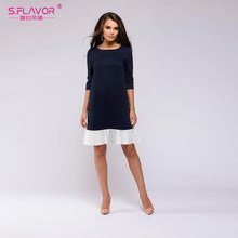 S. Saveur femmes robe courte ample printemps automne 3/4 manches col rond Patchwork Mini robe grande taille femmes Vestidos(China)