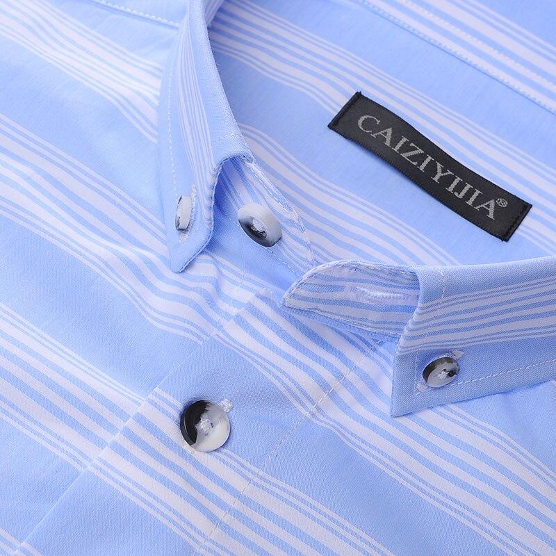 b4dd8257e9 Céu dos homens azul Branco Listras Horizontais Camisa No bolso Manga Longa  Confortável Macio 100% Algodão Fino fit Botão down Camisas de Vestido em  Camisas ...