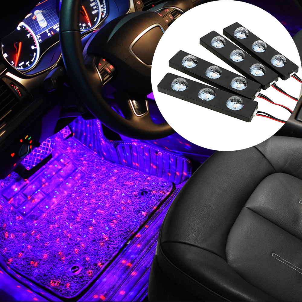FORAUTO Car USB LED Atmosphere Starry Lights Flash Strobe Controller Auto Interior Lamp RGB Music Rhythm Touch And Sound Control
