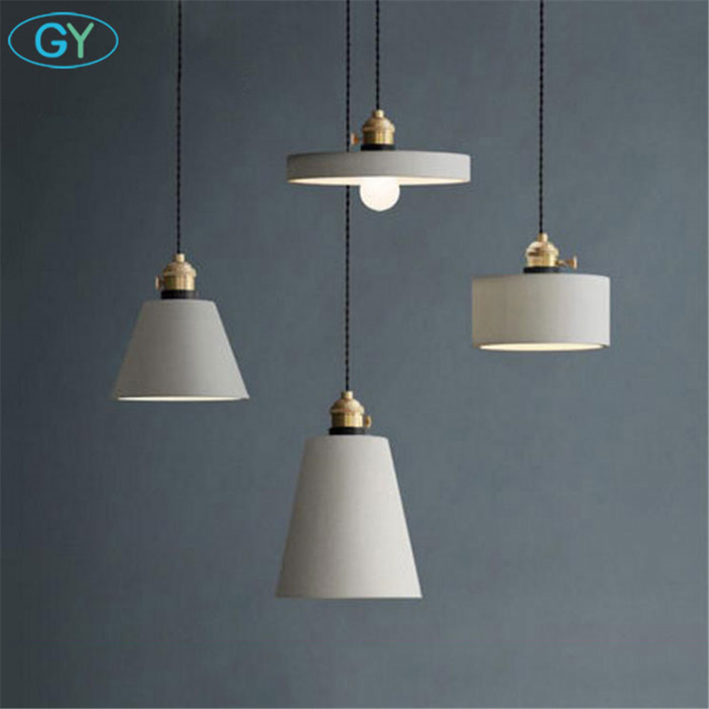 Art Designer Cement lamp American Gray Cafe pendant lamp Industrial Grey Cement lampshade LED E27 pendant lighting fixture eiceo nordic ancient art cement resin creative pendant lamp minimalist retro cement lampshade for indoor cafe bars decor light