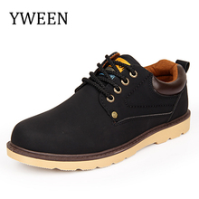 YWEEN Hot Sale Casual Shoes Men Spring Autumn Waterproof Solid Lace-up Man Fashion Flat With Pu Leather Shoe(China)