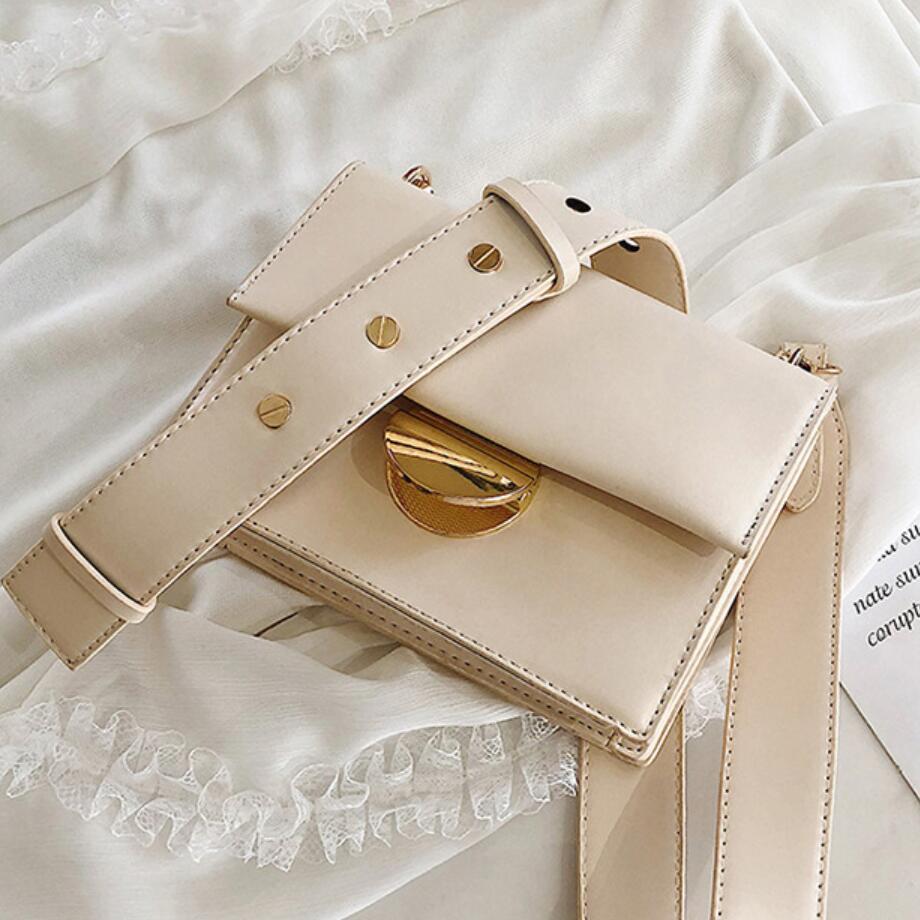Elegant Female Solid Color Flap Square Bag 2019 Summer New Quality Leather Women's Designer Handbag Lock Shoulder Messenger Bags