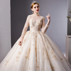 Image 4 - SL 6103 Gold Lace luxury long sleeves ball gown wedding dress bridal dresses wedding gowns royal train