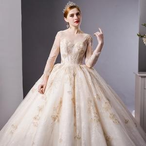 Image 4 - SL 6103 rendas de ouro de luxo mangas compridas vestido de baile vestido de casamento vestidos de noiva vestidos de noiva trem real