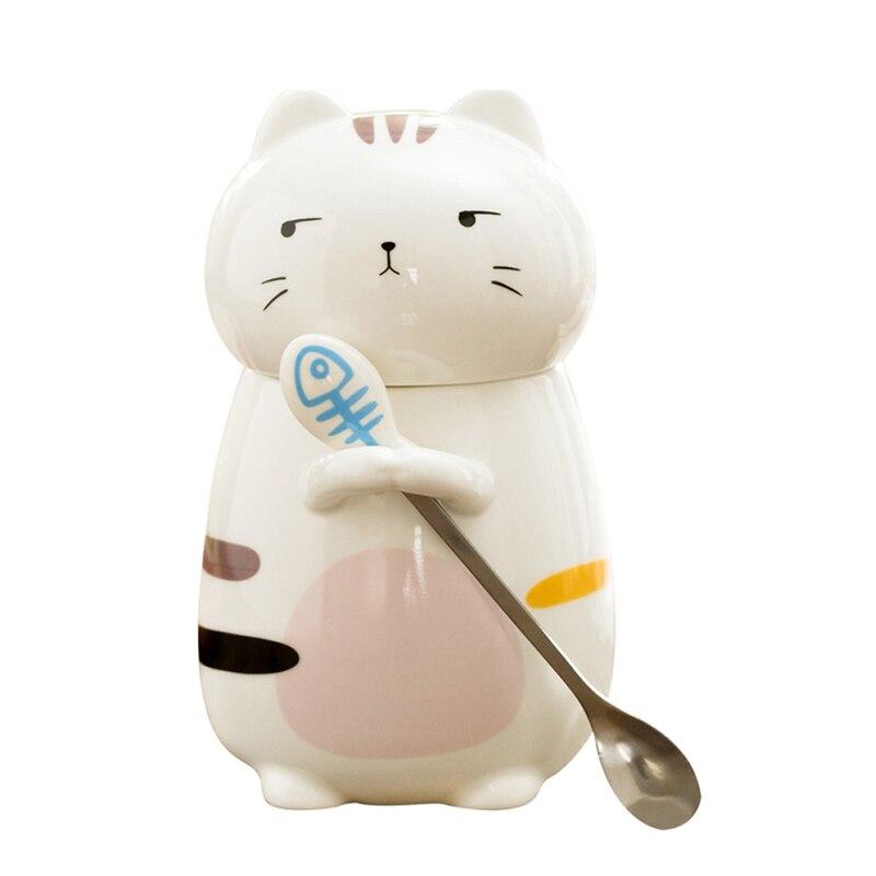 Lindo gato cerámica taza con tapa de gran capacidad tazas animales creativo Drinkware café tazas de té regalos de la novedad taza de leche