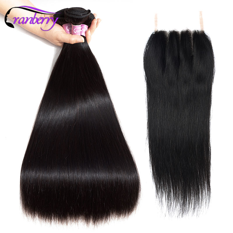 CRANBERRY 4 4 Swiss Lace Closure With 3 Bundles Remy Hair Bundles With Closure Brazilian Straight