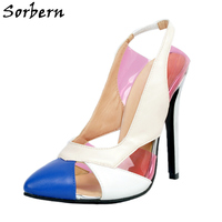 Sorbern Mix Color Pointed Toe Slingbacks High Heels Sexy Pumps Hollow Out 2018 Ladies Heel Shoes