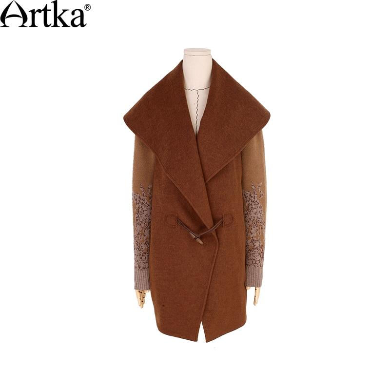 ARTKA ผู้หญิงฤดูใบไม้ร่วงฤดูหนาวใหม่ Patchwork เสื้อขนสัตว์ Vintage เปิด   ลงปกเสื้อปุ่มเสื้อ FA11363Q-ใน ขนสัตว์และขนสัตว์ผสม จาก เสื้อผ้าสตรี บน   3