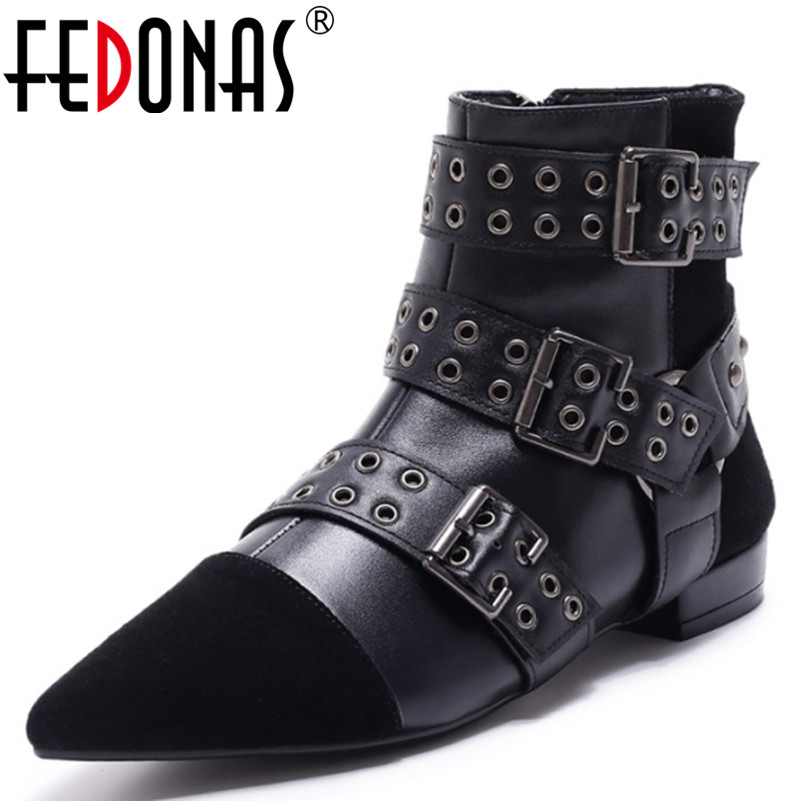 FEDONAS Top Quality Women Genuine Leather +Kid Suede Buckle Rivets Winter Warm Boots Shoes Woman Thick Heel Ankle Martin Boots 2018 new arrival genuine leather fashion boots thick heel winter shoe motorcycle boots rivets party runway women ankle boots l09