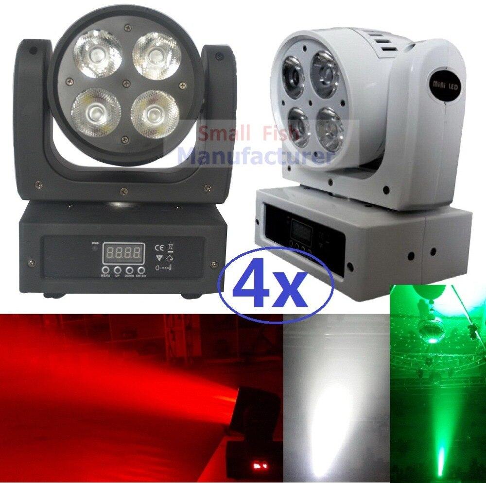 4xLot Free Shipping LED Moving Head font b Light b font Mini Beam Wash 4x20W RGBW