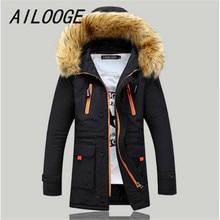 AILOOGE Winter Mens Parka Clothing Thicking Men Jacket Coat With Fur Hood high Quality Jackets Men Plus Size Vestidos Hot Sale
