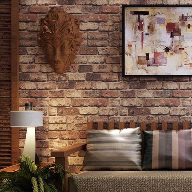 Chinois Style 3d Mur De Briques Rouge Papier Peint Salon Etude Fond