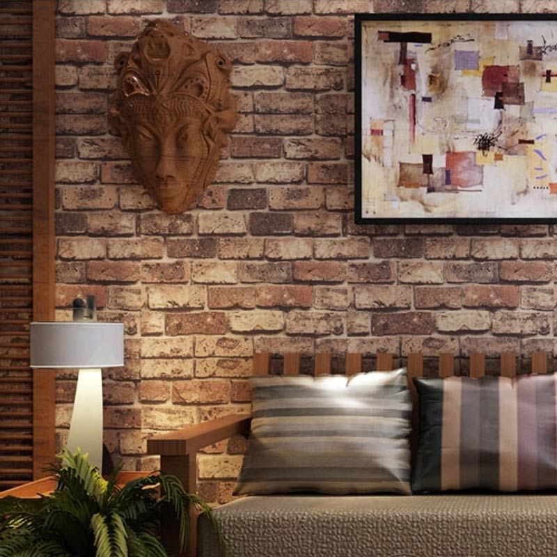 Red Brick Stone Paper Wall Natural Rustic Vintage 3D Effect Design Vinyl Wallpaper For Living Room Background Wall 3D Home Decor