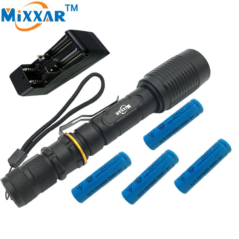 ZK40 V5 CREE XM-L T6 5000Lumens LED Flashlight 5-Modes Adjustable Torch light suitable two 5000mAh batteries Telescopic Lamp