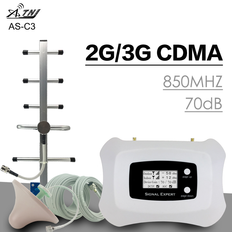 Full Intelligent 3G UMTS 850 Signal Amplifier 70dB <font><b>GSM</b></font> CDMA <font><b>850MHz</b></font> <font><b>Repeater</b></font> 2G 3G Cellular Signal Booster Band 5 Yagi Antenna image