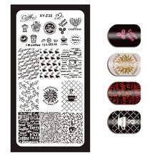 1Pcs Coffee & Tea Cupcake Design Nail Art Print Stencil Rectangle Quality Stamping Polish Template Manicure Nails Stamp Stencils