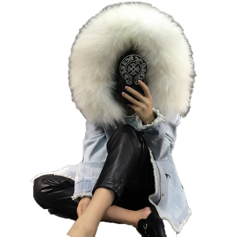 Loose Natural Raccoon Fur Collar Coat Women Winter Real Fox Fur Liner Zipper Jacket With Hat Women Denim Fur Parka Female 2017 winter new clothes to overcome the coat of women in the long reed rabbit hair fur fur coat fox raccoon fur collar