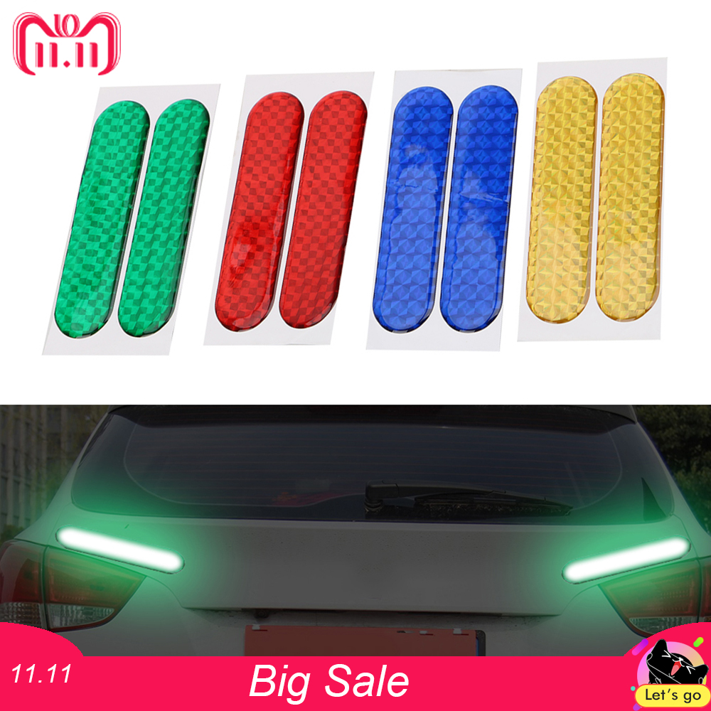 2pcs Reflective Strips Car-styling Car Reflective Stickers Warning Tape Safety Mark Car Door Sticker Decal 4 Colors new 8mx1cm universal motorcycle reflective stickers strips diy bike car safety warning reflective tape wheel rim decal sticker