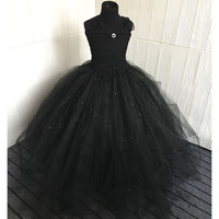 Black V neck Fluffy Girl Tutu Dress Princess Elegant Baby Girl Birthday Evening Party Tulle Tutu Dresses with Pearls For Photos