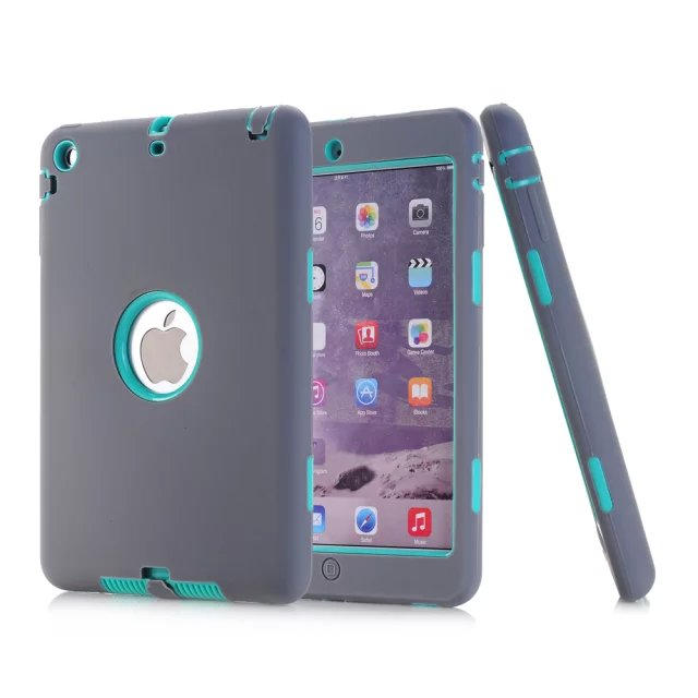 все цены на For Apple iPad Mini Case All Round Protective Cover 3 Layer Plastic + Rubber Case for iPad Mini 2 3 1 Coque Funda Capa 10Colors онлайн