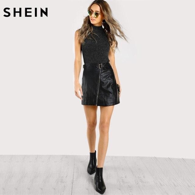 SHEIN Tank Top Women Mock Neck Ribbed Glitter Top Black Women Fitness Vest Stand Collar Elegant Tank Tops for Women 3