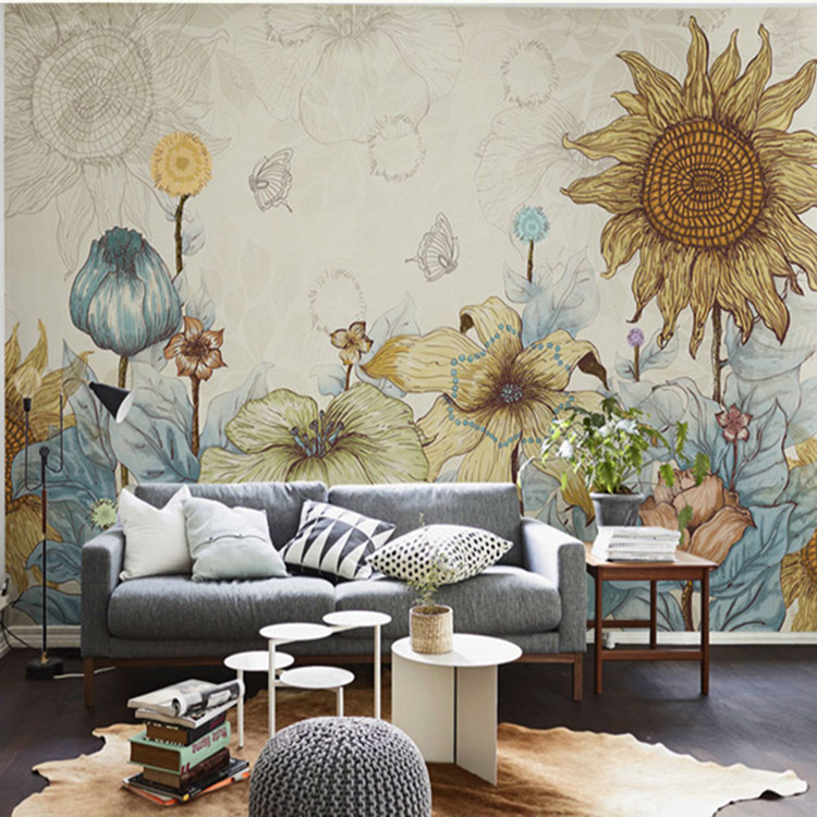 Flowers Wall Wallpapers Design For Your Bedrooms Decorating: Elegant Photo Wallpaper Rose Flower Wall Murals 3D Custom