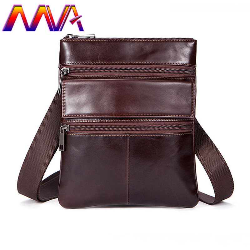 MVA Preppy style leather men shoulder bag for fashion boy messenger bag with genuine leather small shoulder bag men casual bags