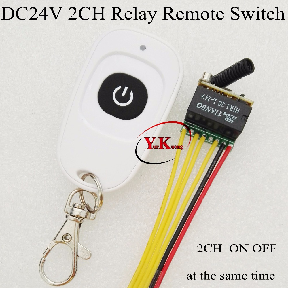 цена на 2 channel ON OFF at the same time remote switch DC 24V 2CH Mini Relay Contact RF Wireless Switch 433 DPDT Relay Remote Control