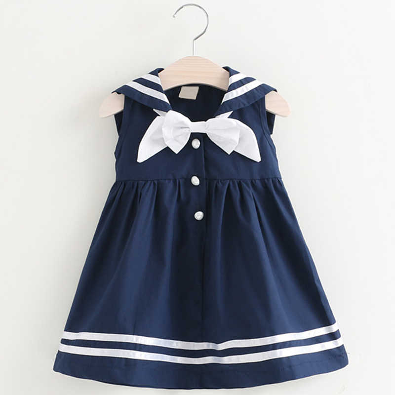 edfeae75b69ff Girls Summer Dress 2019 New Preppy Fashion Style Children Sleeveless Bow  Striped Princess Dress For 2-6Y Baby Navy Wind Dresses