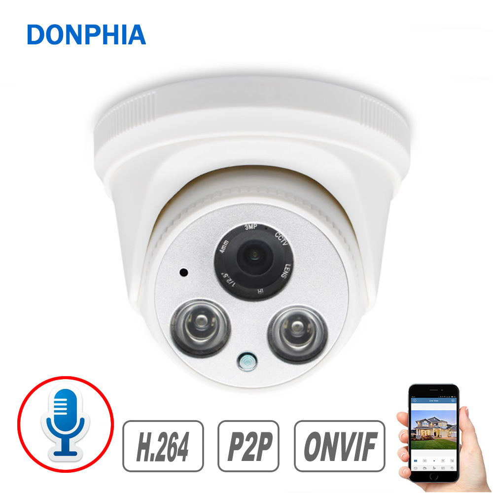 Audio Recording IP Camera with Microphone 1080P Security Camera 2MP Indoor for Video Surveillance IR Night