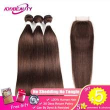Human Hair Bundles With Closure #4 Light Brown Color Pre-colored 4x4 Swiss Lace Brazilian Straight Remy Weave Free Middle Part(China)