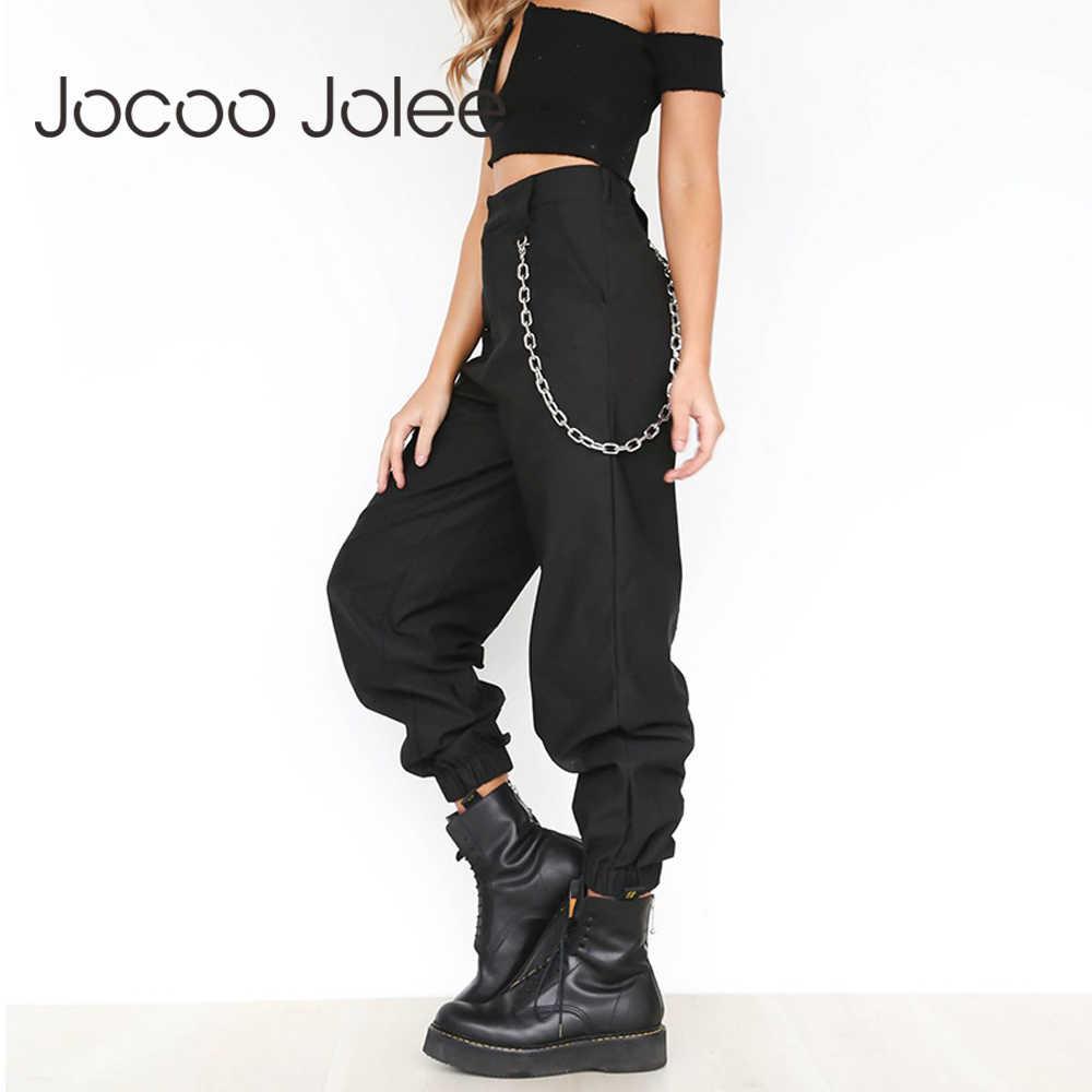 3fb3fa4dd73 Jocoo Jolee женские с высокой талией шаровары женские модные тонкие  однотонные длинные брюки хип-хоп