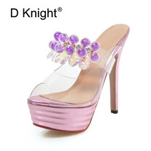 2019 New PVC Jelly Sandals Crystal String Bead Sexy Lady Platform Shoes Women Transparent Thin High Heels Slippers Pumps