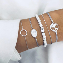 Fashion Bohemian Map beads Bracelets set for Women White stone Strand Beads Bangles Charm Female 2018 Jewelry Gift