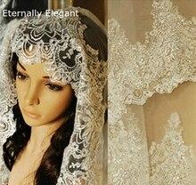 Gerçek fotoğraflar 2018 beyaz/fildişi düğün duvağı 3m tarak dantel boncuk Mantilla gelin peçe düğün aksesuarları Veu De noiva MD47