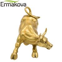 ERMAKOVA Golden Brass Charging Stock Market Bull Figurine Wall Street Bull Ox Statue Feng Shui Scuplture Home Office Decor