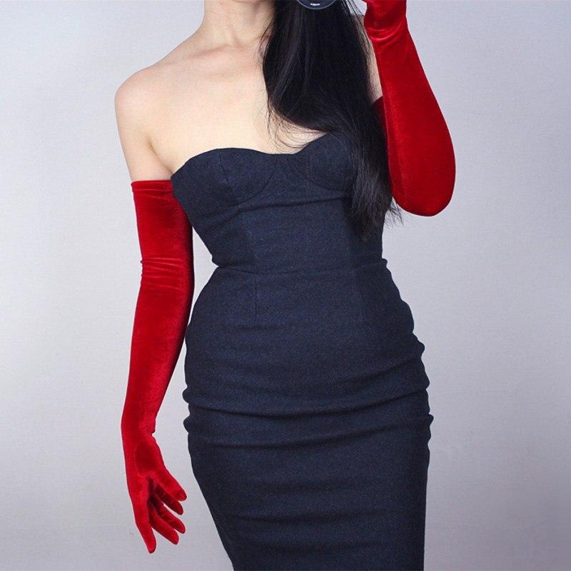 1 Pair Red Velvet Womens Gloves 60cm Long Vintage Opera Evening Stretchy Velours Gloves Fashion Elegant Lady Mittens Hot XLZ9499