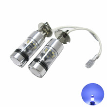 2PCS Top Quality H3 High Power 100W 20SMD 6000K Car Auto White LED Fog Lamp Bulbs Daytime Running Light Replacement Bulb DC12V