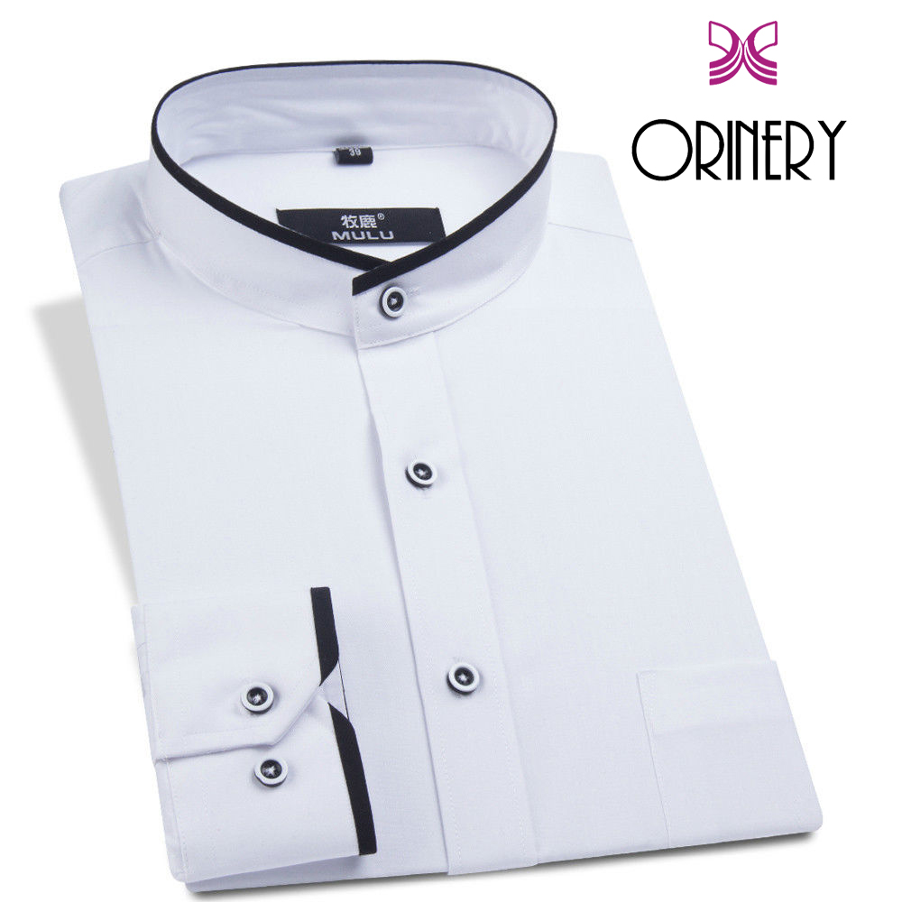ORINERY 2018 New Spring Mandarin Collar Men Shirt High Quality Solid Long Sleeve Camisa Masculina Fashion Brand Clothing