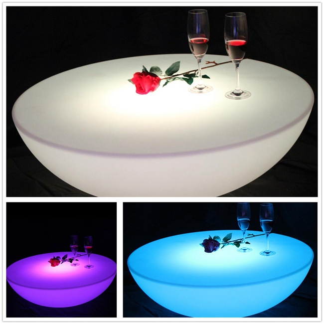 Brand New Hot sale Waterproof LED Coffee Table color changing Bar Furniture SK-LF17 (D80*H22cm) 1pc led luminous bar table plastic color changing coffee dining room garden drinking tables