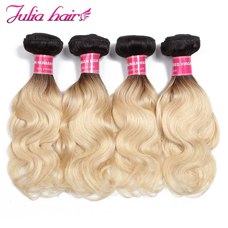 Ali Julia Hair Brazilian Ombre Hair T1B/613 Body Wave 100% Human Hair Weave Bundles Remy Hair Extension Double Weft