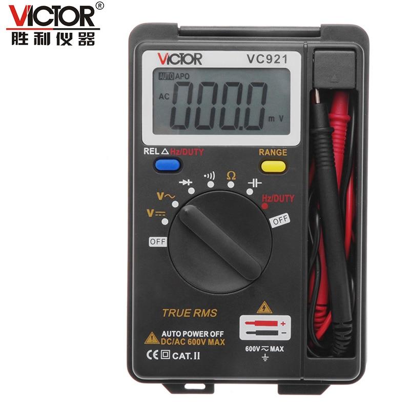 VICTOR VC921 3 3/4 Multitester Electrical Handheld Pocket Mini Digital Multimeter Ammeter Auto Range Tester