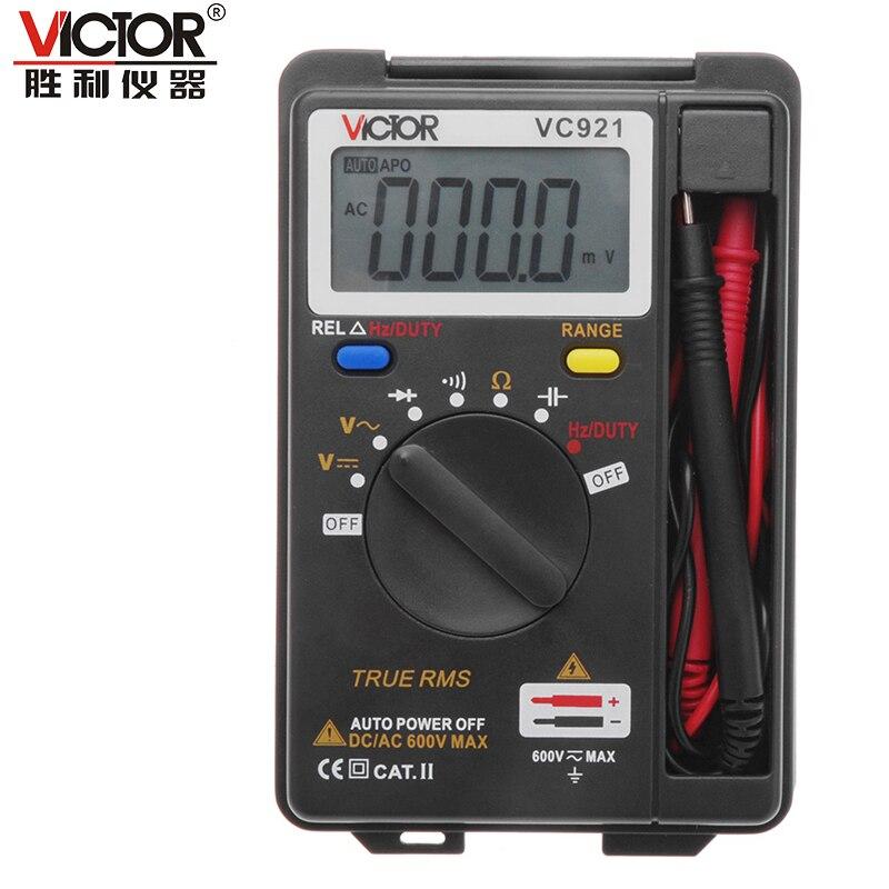 VICTOR VC921 3 3/4 Multitester eléctrico portátil Pocket Mini multímetro Digital amperímetro probador de rango automático
